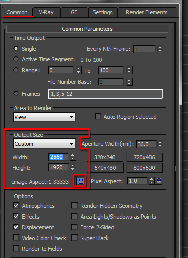 Output Size in 3ds Max