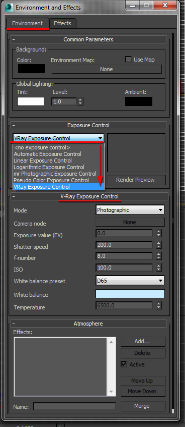 Load the VRay Exposure Control