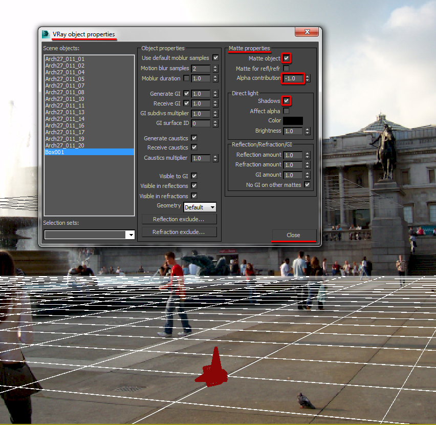 VRay object properties dialog