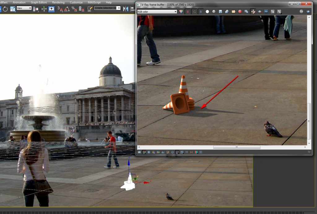 Shadow brightness matched, by increasing the VRay dome light Intensity Multiplier