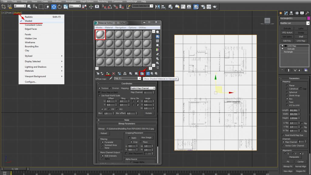 Show Shaded Material in Viewport button enabled