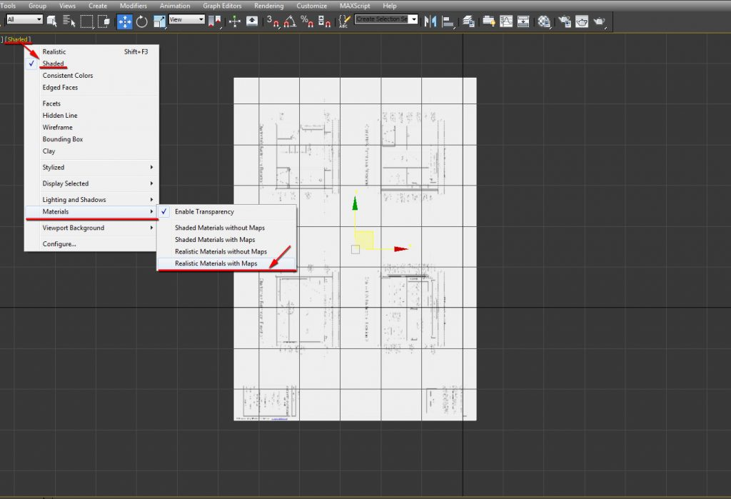 Choose the, Realistic Materials with Maps option