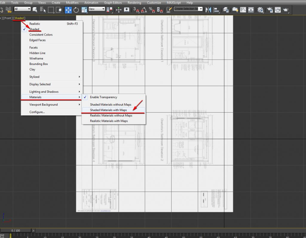 Choose the Shaded Materials with Maps option