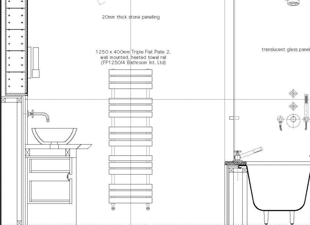 Drawing notes/text regarding dimensions