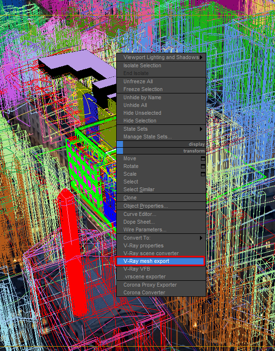 V-Ray mesh export quad menu